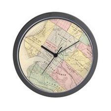 Vintage Map of Oakland California (1878 Wall Clock