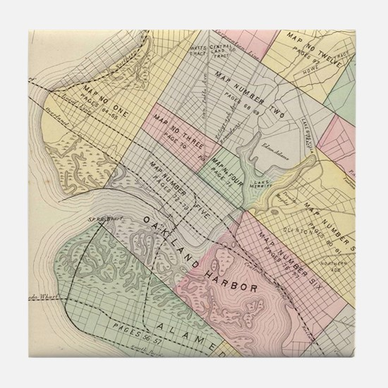 Vintage Map of Oakland California (18 Tile Coaster