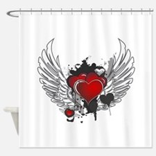 Winged hearts Shower Curtain