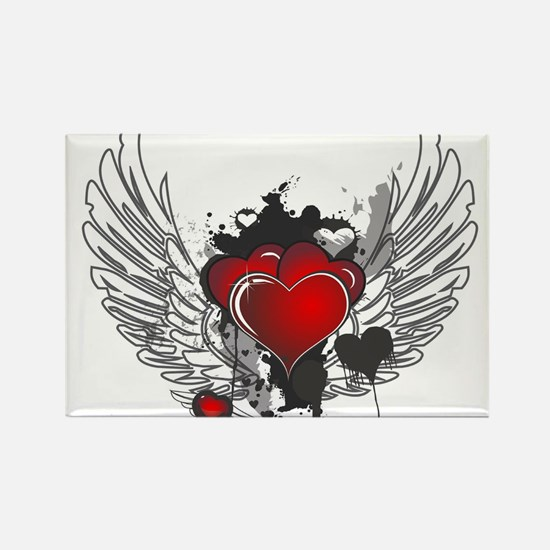 Winged hearts Magnets