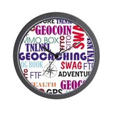 Geocaching Words Wall Clock