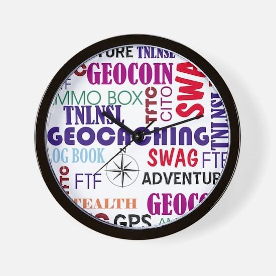 Geocaching Words Wall Clock