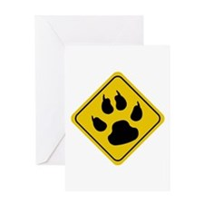 Cat Crossing Sign Greeting Card