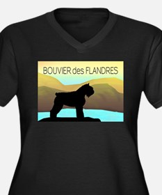 Bouvier By The Sea Women's Plus Size V-Neck Dark T
