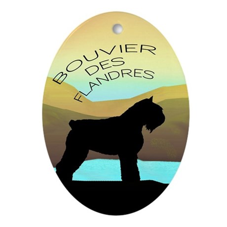 Bouvier By The Sea Oval Ornament