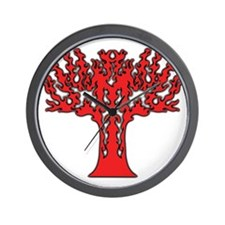 Red Flames Tree of Life Wall Clock