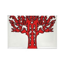 Red Flames Tree of Life Rectangle Magnet