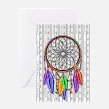 Dreamcatcher Rainbow Feathers Greeting Cards