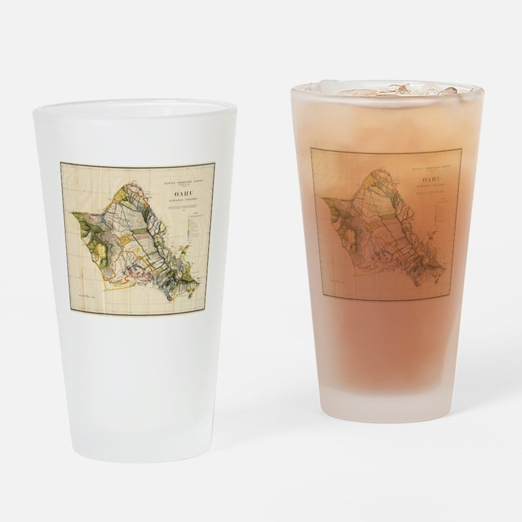 Vintage Map of Oahu Hawaii (1906) Drinking Glass
