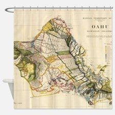Vintage Map of Oahu Hawaii (1906) Shower Curtain