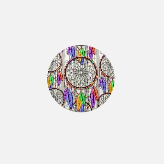 Dreamcatcher Rainbow Feathers Mini Button