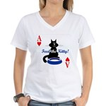 Cats Playing Poker Women's V-Neck T-Shirt