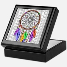 Dreamcatcher Rainbow Feathers Keepsake Box