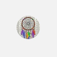 Dreamcatcher Rainbow Feathers Mini Button