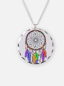 Dreamcatcher Rainbow Feather Necklace