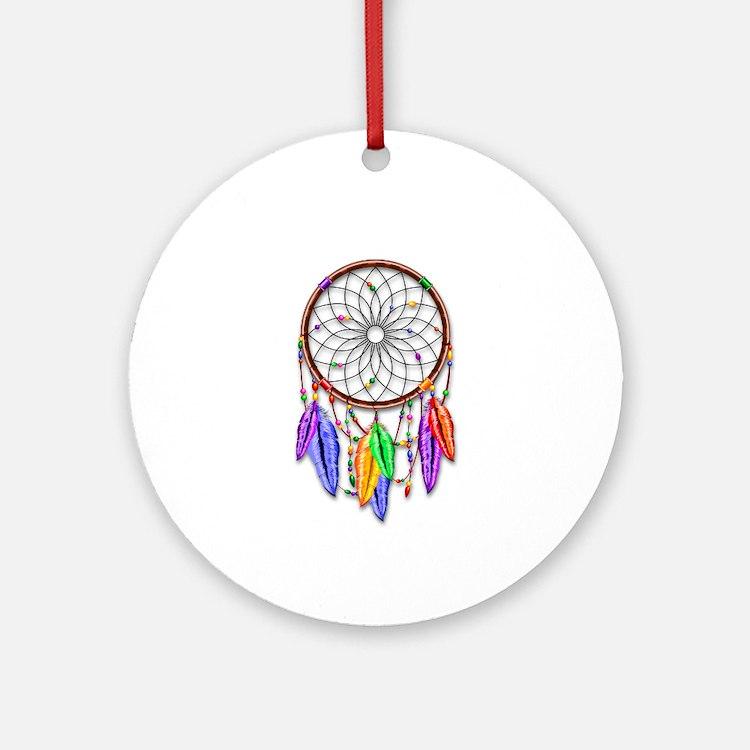 Dreamcatcher Rainbow Feathers Ornament (Round)