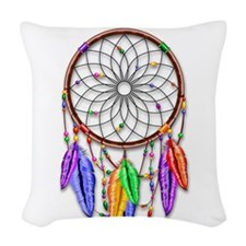 Dreamcatcher Rainbow Feathers Woven Throw Pillow