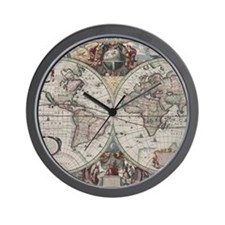 Vintage Map of The World (1630) Wall Clock