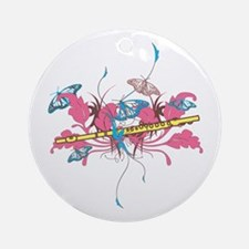 Butterfly Flute Ornament (Round)