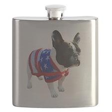 Patriotic 4th of July French Bulldog Richy Flask