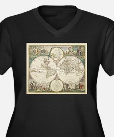 Vintage Map of The World (1680) Plus Size T-Shirt