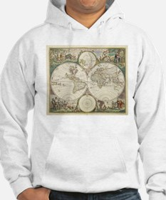 Vintage Map of The World (1680) Hoodie