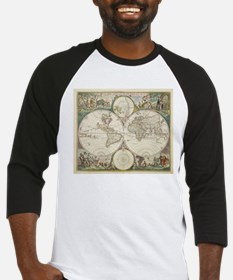 Vintage Map of The World (1680) Baseball Jersey