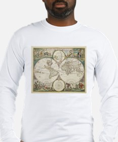 Vintage Map of The World (1680 Long Sleeve T-Shirt