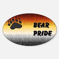 BEAR PRIDE TEXT FLAG FURRY LO Oval Decal