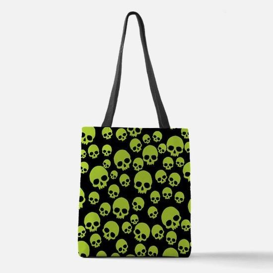 Random Green Skull Pattern Polyester Tote Bag