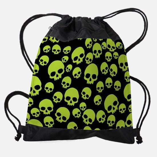 Random Green Skull Pattern Drawstring Bag