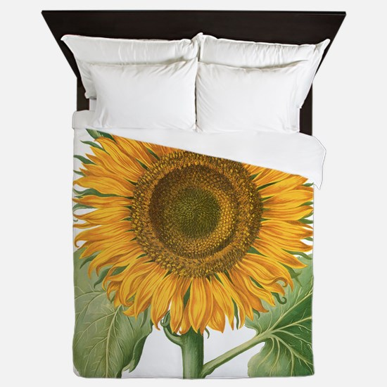 Vintage Sunflower Basilius Besler Queen Duvet