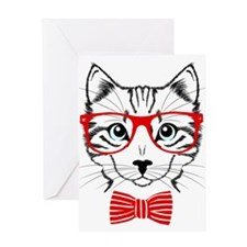Hipster Cat Greeting Cards