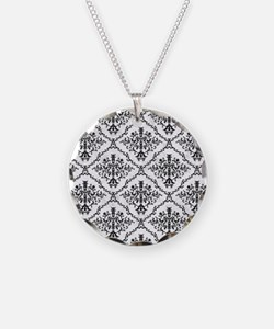 Black and White Large Damask Necklace