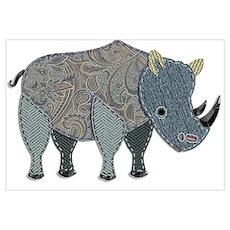 Appliqued Rhinoceros Poster