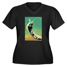 VOGUE - Ridi Women's Plus Size V-Neck Dark T-Shirt