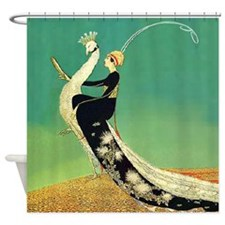 VOGUE - Riding a Peacock Shower Curtain