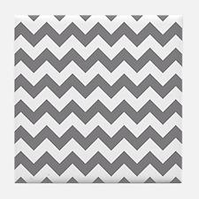 Chevron in Titanium Gray Tile Coaster
