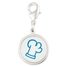 Blue chef cook Silver Round Charm