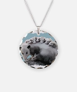 Possum Family on a Log Necklace