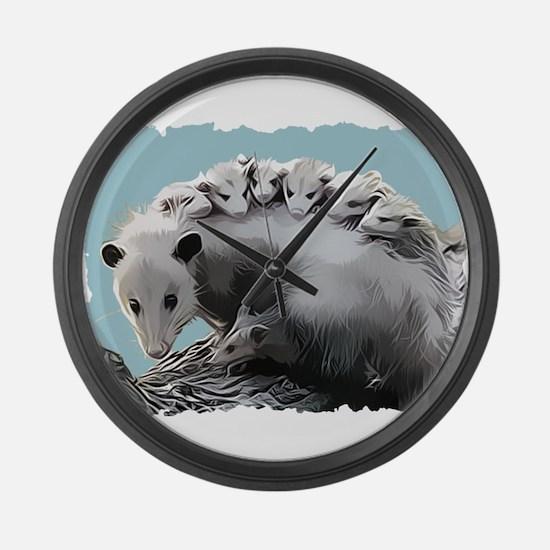 Possum Family on a Log Large Wall Clock
