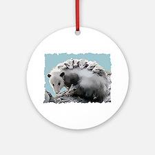 Possum Family on a Log Ornament (Round)