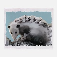Possum Family on a Log Throw Blanket