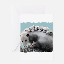 Possum Family on a Lo Greeting Cards