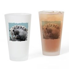 Possum Family on a Log Drinking Glass