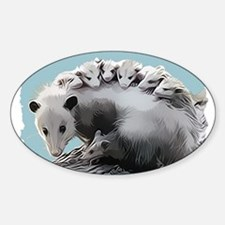 Possum Family on a Log Decal
