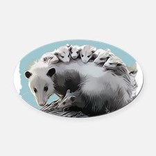 Possum Family on a Log Oval Car Magnet