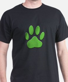 Dog Paw Print With Chevron Pattern T-Shirt