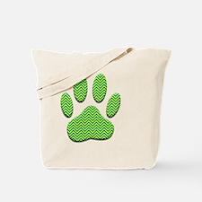 Dog Paw Print With Chevron Pattern Tote Bag