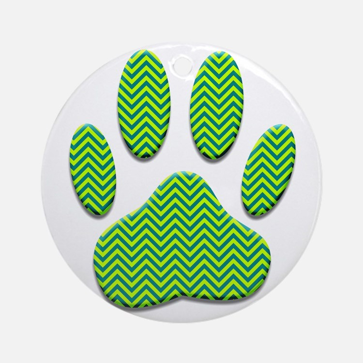 Dog Paw Print With Chevron Patter Ornament (Round)